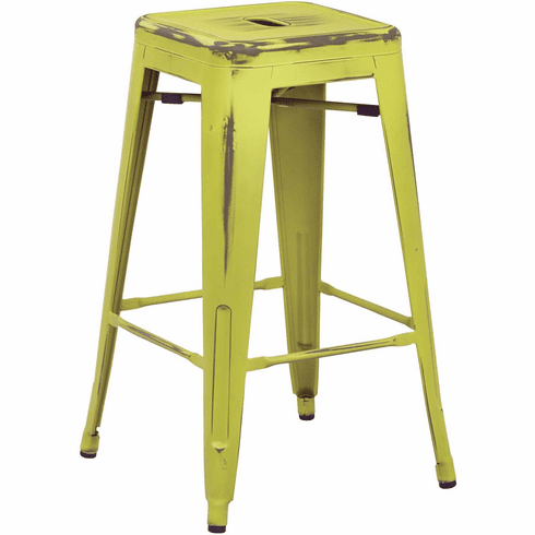 Office Star 26 Quot Metal Stool Antique Lime 4 Pack Office