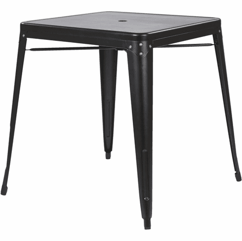 OSP Designs Bristow Black Metal Dining Table with Umbrella Hole [BRW432U-C230]