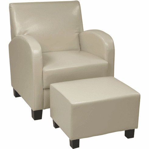 OSP Designs Cream Faux Leather Club Chair with Ottoman [MET807CM]