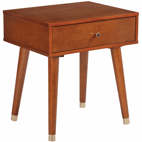 OSP Designs Cupertino Side Table with Drawer Light Walnut [CUP08-LWA]