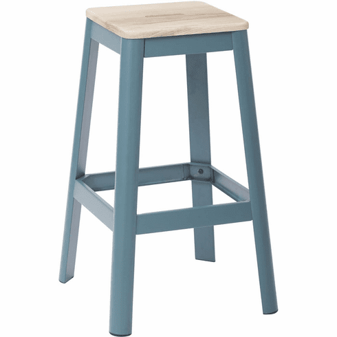 Office Star Hammond 30 Quot Metal Stool Lightwood Frosted Teal