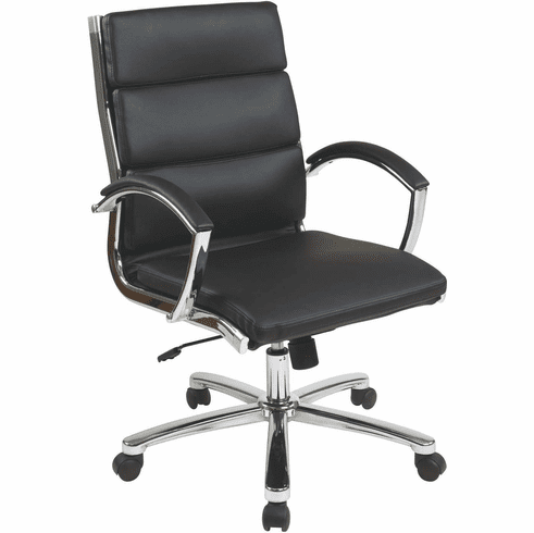 OSP Designs Mid Back Executive Black Faux Leather Chair [FL5388C-U6]