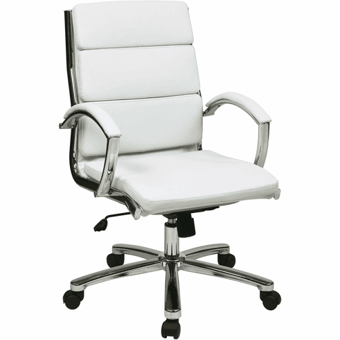 OSP Designs Mid Back Executive White Faux Leather Chair [FL5388C-U11]