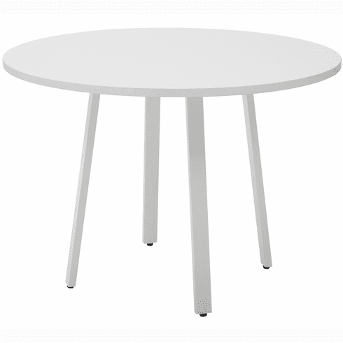 "OSP Designs Prado 42"" Round Conference Table, White Top, Metal Legs [PRD42RT-WH]"