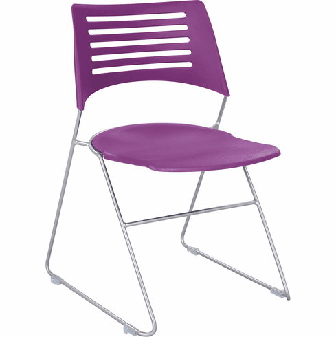 Pique™ Stack Chair Plum Plastic Seat & Back Silver Base Set of 4 [4289PLSL]