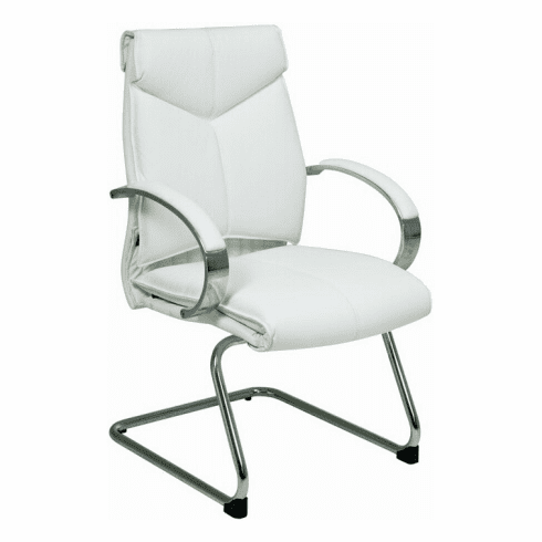 Pro-Line II™ Contemporary Mid Back White Leather Guest Chair [7275]