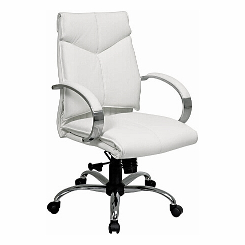 Pro Line II Mid Back White Leather Desk Chair [7271]