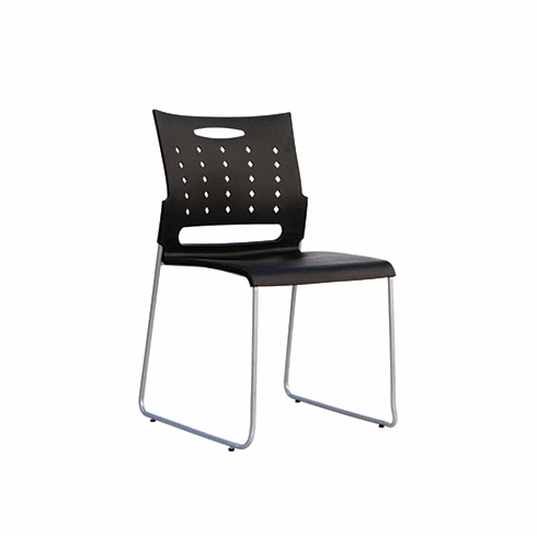 Recha Black Plastic Stack Chairs, Set of 4 [RH500PBK]