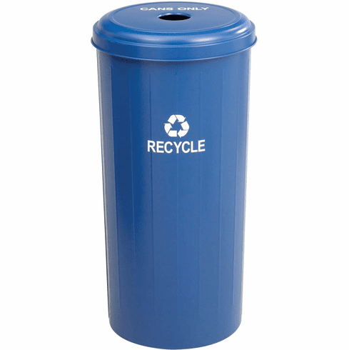 Recycling Receptacle Tall Round Cans 30 Gallon Blue [9632BU]