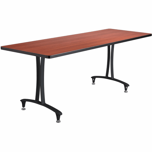 "Rumba™ Fixed T-Leg Table with Glides 72 x 24"" Cherry Top & Black Base [2097CYBL]"