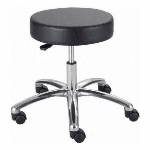 Safco Backless Stool Black Vinyl Seat And Wheels 3431
