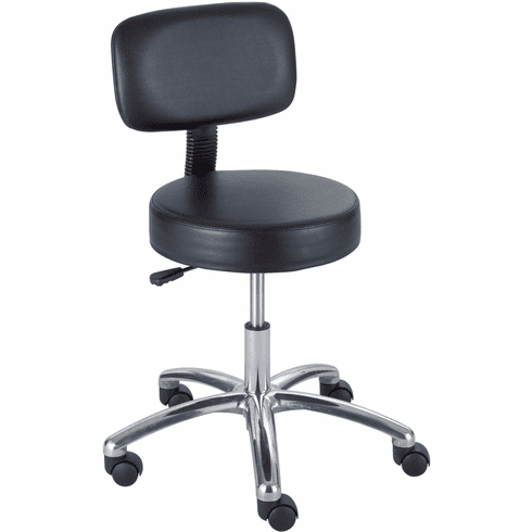 Safco® Lab Stool with Back Black [3430BL]