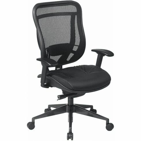 Space Seating High Back Mesh Chair with Leather Seat [818-41G9C18P]