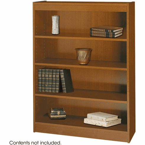 Square-Edge Veneer Bookcase 4 Shelf Medium Oak [1503MOC]