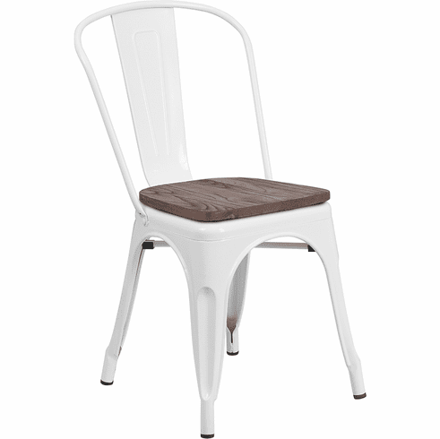 Prime White Metal Stackable Chair With Wood Seat Ch 31230 Wh Wd Gg Short Links Chair Design For Home Short Linksinfo