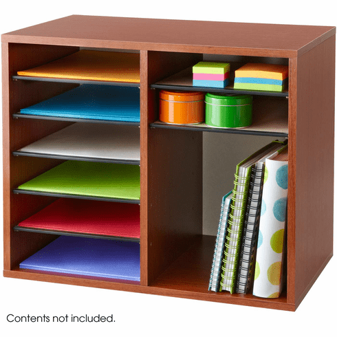 Wood Adjustable Literature Organizer 12 Compartment Cherry [9420CY]