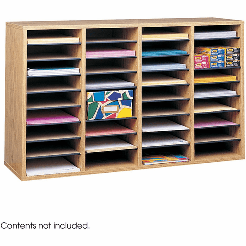 Wood Adjustable Literature Organizer 36 Compartment Medium Oak [9424MO]