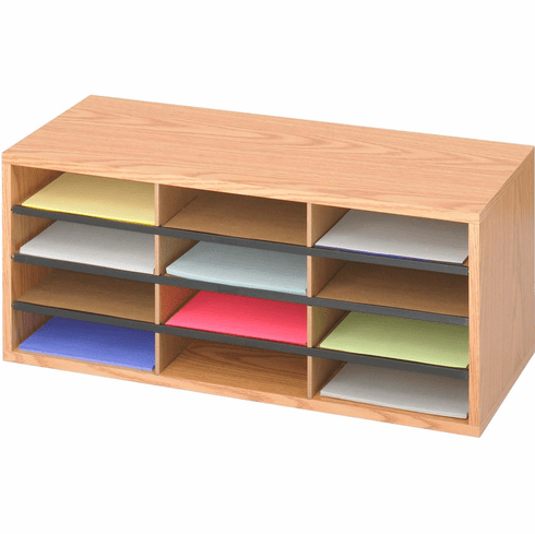Wood / Corrugated Literature Organizer 12 Compartment Medium Oak [9401MO]