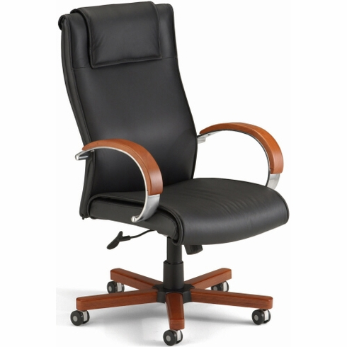 Wood Finish Executive Leather Chair [560-L]