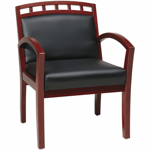 Work Smart™ Black Faux Leather Cherry Leg Chair Crown Back [WD1647-U6]