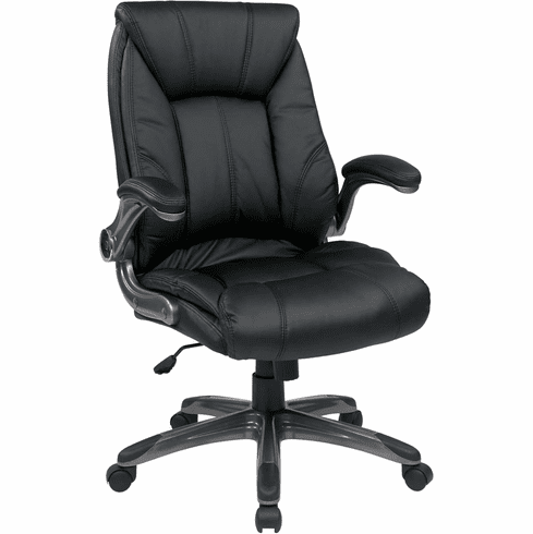 Work Smart™ Black Faux Leather Mid Back Managers Chair [FLH24987-U6]