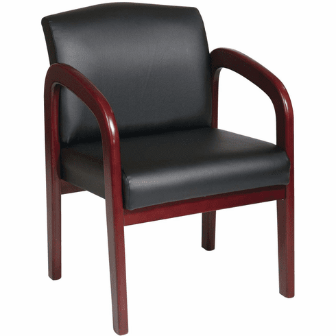 Work Smart™ Cherry Wood Visitor Chair Black Faux Leather [WD387-U6]