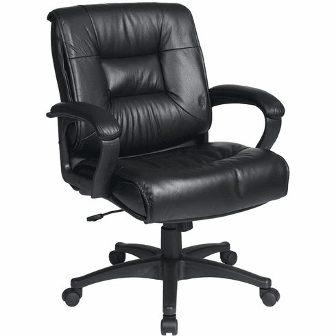 Work Smart™ Deluxe Mid Back Executive Black Leather Chair [EX5161-G13]
