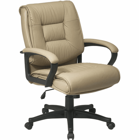 Work Smart™ Deluxe Mid Back Executive Tan Leather Chair [EX5161-G11]