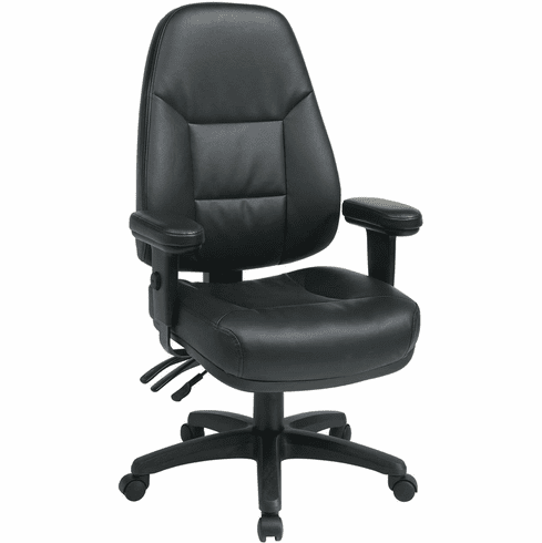 Work Smart™ Dual Function High Back Black Leather Chair [EC4300-R107]