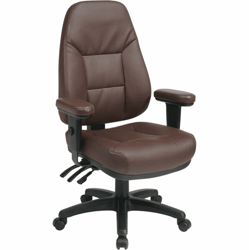 Work Smart™ Dual Function High Back Burgundy Leather Chair [EC4300-EC4]