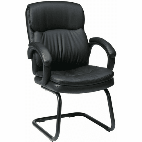 Work Smart Eco Leather Sled Base Guest Chair [EC9235]
