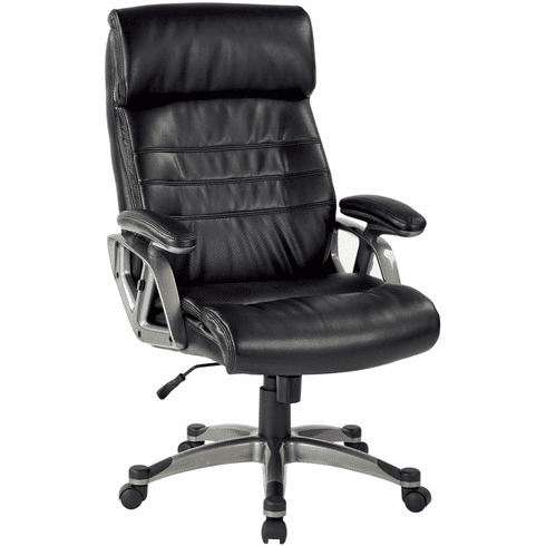 Work Smart™ Executive Black Leather Arm Chair Titanium [ECH70537-EC3]
