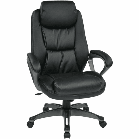 Work Smart™ Executive Black Leather Chair Coil Spring Comfort [ECH89187-EC3]