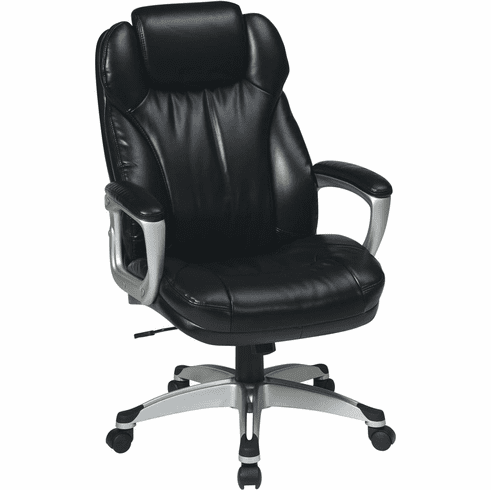 Work Smart™ Executive Black Leather Chair Padded Arms [ECH85806-EC3]
