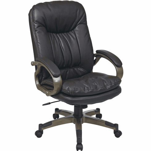 Work Smart™ Executive Espresso Leather Arm Chair Cocoa Frame [ECH83501-EC1]