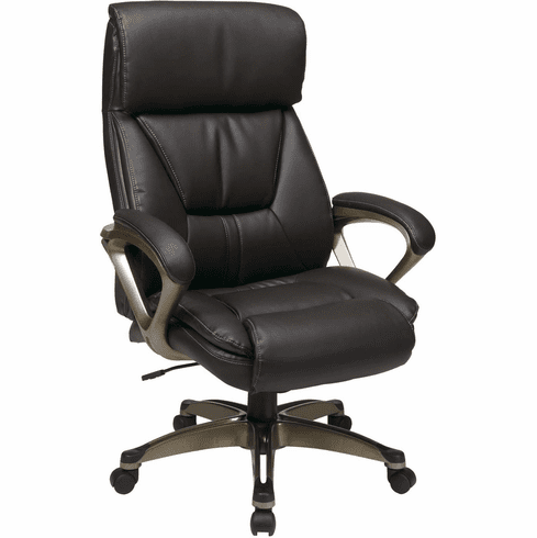 Work Smart™ Executive Espresso Leather Chair Coil Spring Comfort [ECH89301-EC1]