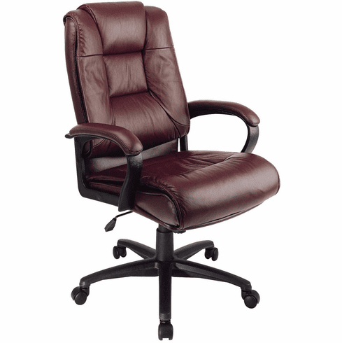 Work Smart™ Executive High Back Burgundy Leather Arm Chair [EX5162-4]