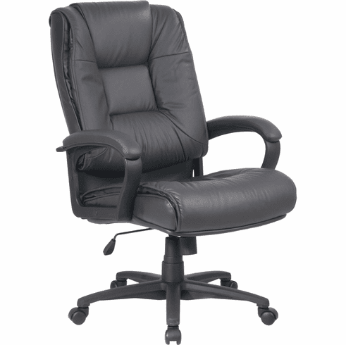 Work Smart™ Executive High Back Dark Grey Leather Arm Chair [EX5162-G12]