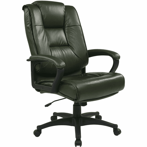 Work Smart™ Executive High Back Green Leather Arm Chair [EX5162-G16]