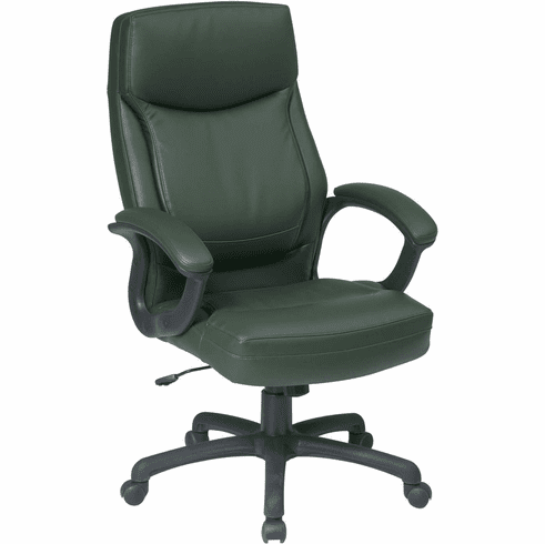 Work Smart™ Executive High Back Green Leather Chair [EC6583-EC16]