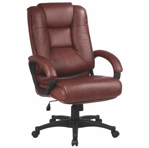 Work Smart™ Executive High Back Saddle Leather Arm Chair [EX5162-G8]