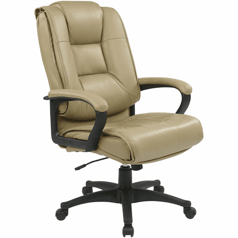 Work Smart™ Executive High Back Tan Leather Arm Chair [EX5162-G11]