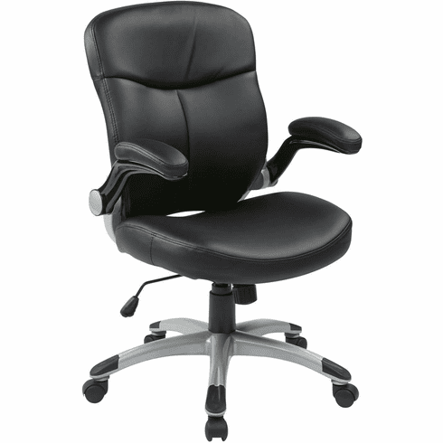 Work Smart™ Executive Mid Back Black Leather Chair Flip Arms [ECH37816-EC3]