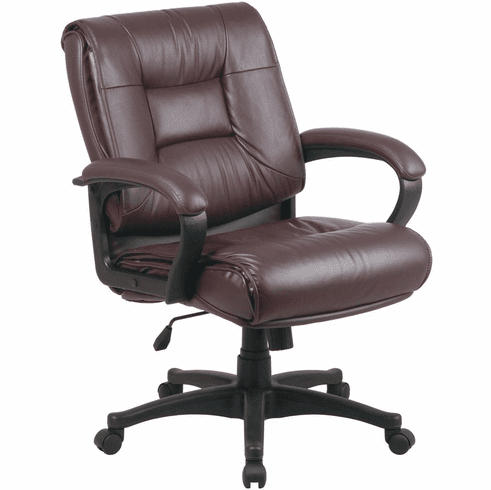 Work Smart Mid Back Executive Burgundy Leather Chair Ex5161 4