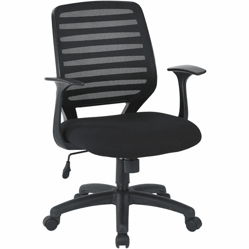 Work Smart™ Screen Back Task Chair Black Fabric Seat T Arms [EM22822-F3]