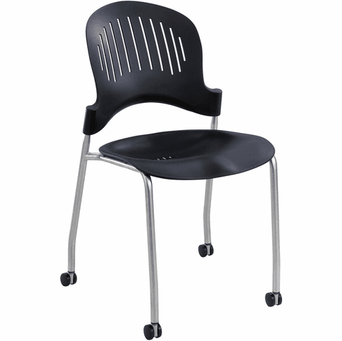 Zippi™ Stack Chair Plastic Black Set of 2 [3385BL]