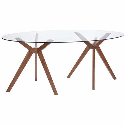 Zuo Buena Vista Conference Table Walnut, Tempered Glass [100090]