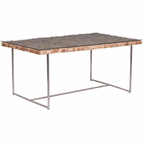Zuo Collage Conference Table Glass, Teak, Stainless Steel [100260]