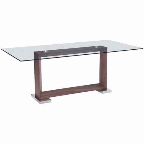 Zuo Oasis Conference Table Walnut, Glass, Stainless Steel [100288]
