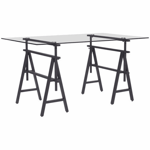 Zuo Ralston Desk Antique Black Tempered Glass Metal [100443]